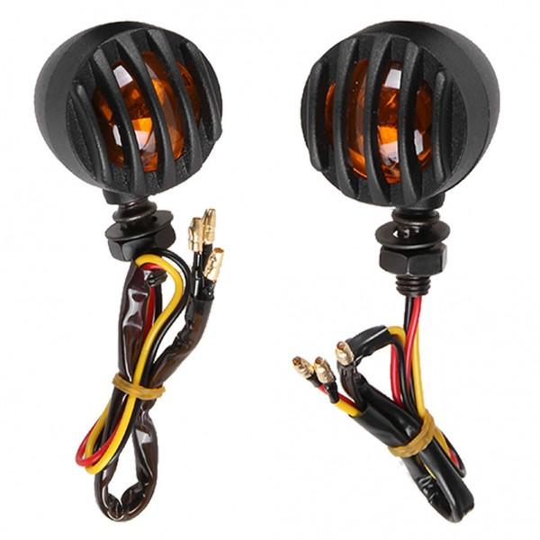 1Pair Motorcycle Black Grill Turn Signal Brake Stop Running Tail Lights