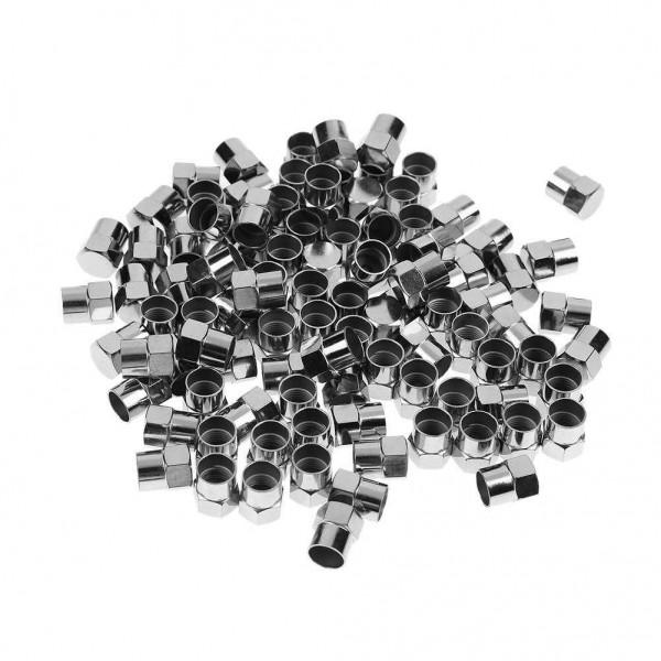100pcs Chrome Plated Plastic Wheel Tire Valve Stem Caps for Schrader Valves