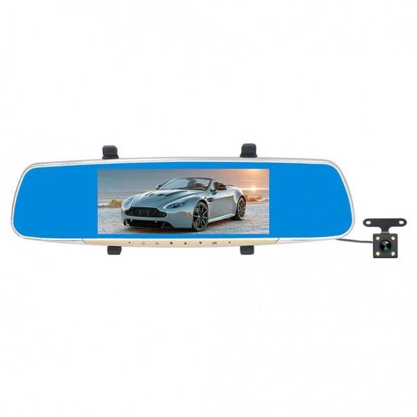 7in LCD Dual Lens 1080P Car Rearview Mirror DVR Camera G-sensor Dash Cam