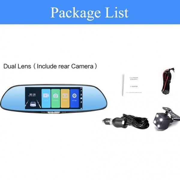 V37 120 Degree Rear Mirror Car Camera 7 Inch 1080P 12MP Night Vision Dash