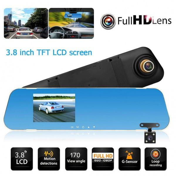 V40 3.8in Dual Lens 1080P Car Rearview Mirror DVR Camera G-sensor Dash Cam