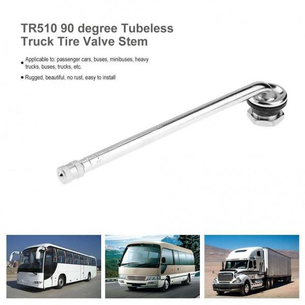 TR510 Truck Bus Tubeless Tire Valve Stem Chromed Brass with 90 Degree Bend