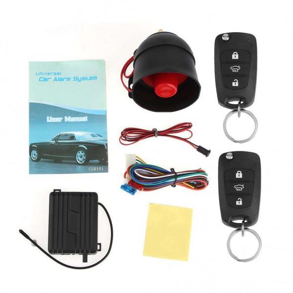 1-Way Car Burglar Alarm Keyless Entry Security System Siren+2Remote Control