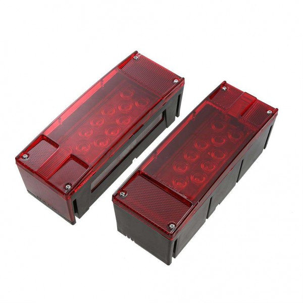 Left+Right LED Red Trailer Boat Rectangle Stud Stop Turn Tail Lights