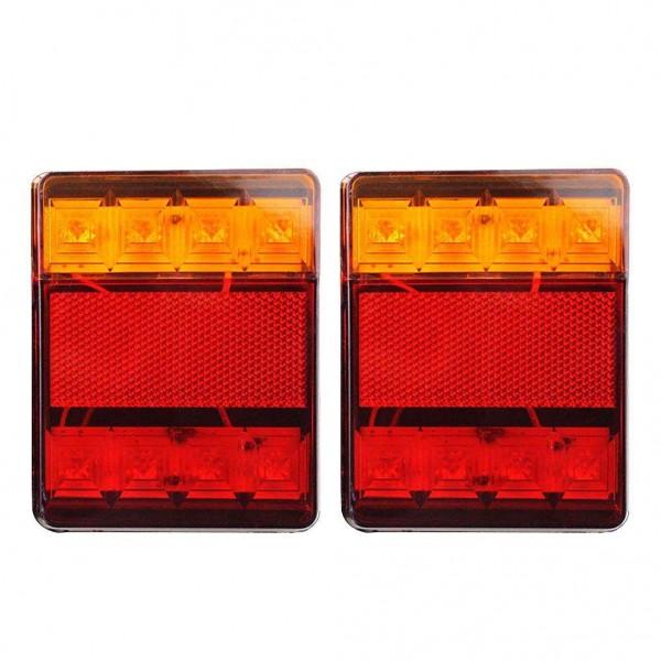 1 Pair Car Truck 8LED Tail Warning Lights Rear Lamps Waterproof Tailights